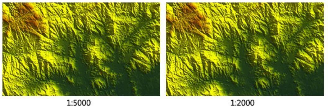 数字高程模型DEM图例:左图1:5000 DEM,右图1:2000 DEM